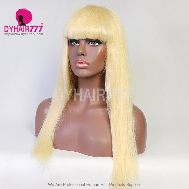130% Density 613 Color Full Machine Made Wigs With Bangs Human Hair Wigs 100% Human Hair (Not Have Lace)