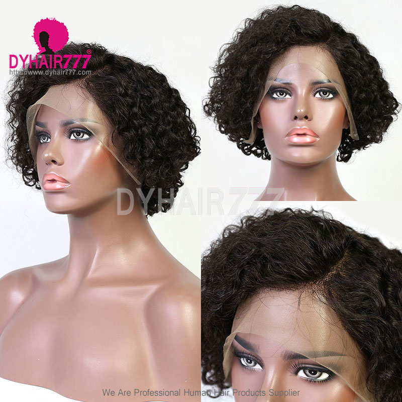 180% density Top Quality Virgin Human Hair Pixie XX02 Curly Bob Wigs Lace Front Wigs