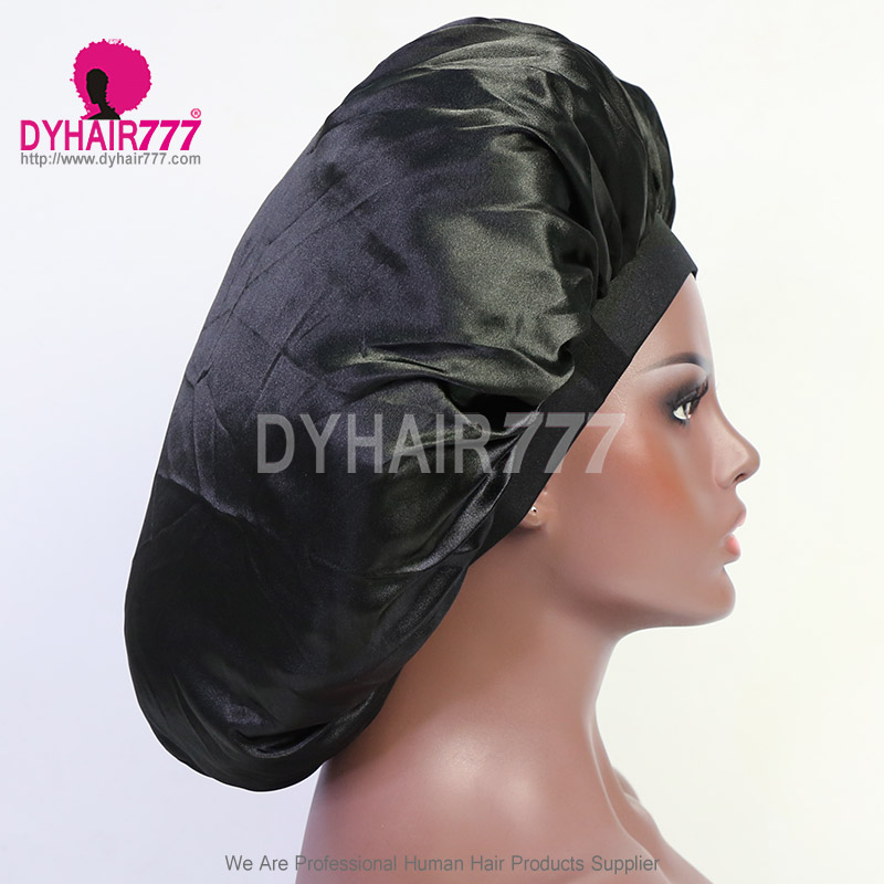 Satin Bonnet Silk Head Cover Wide Durable Elastic Band Breathable Protect Hair