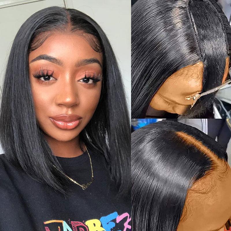 U Part Wigs BluntCut Bob Wig 130% Density Straight Hair 100% Human Hair Natural Color613# Blonde Color