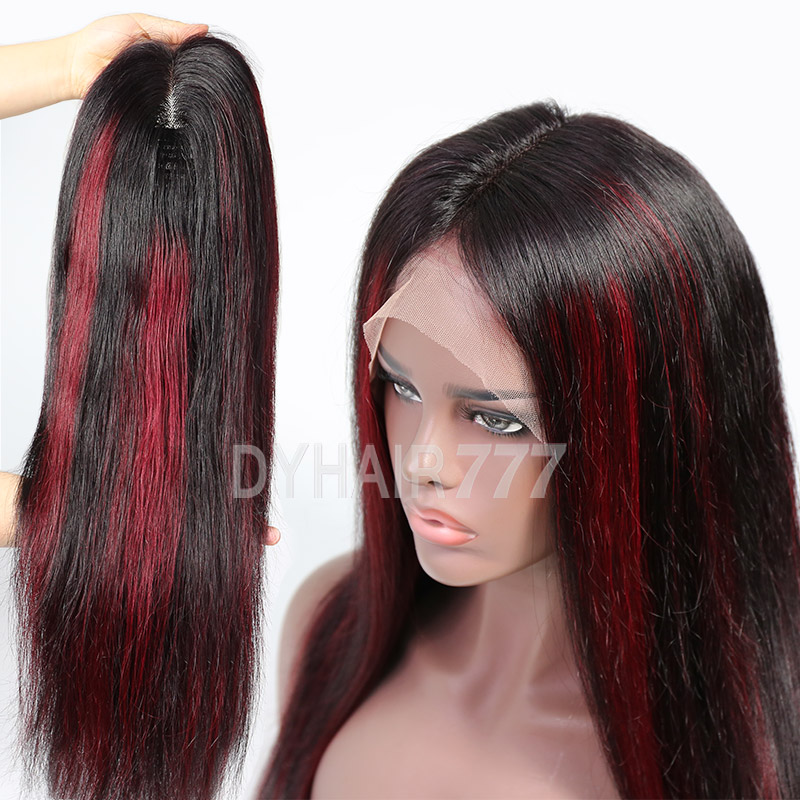 P1B/99J Highlight Lace Frontal Wigs Straight Hair 130% Density With Natural Hairline
