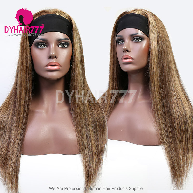 Highlights P4/27 Headband Scarf Wigs 180% Density Human Hair Wigs 100% Human Hair (Not Have Lace)