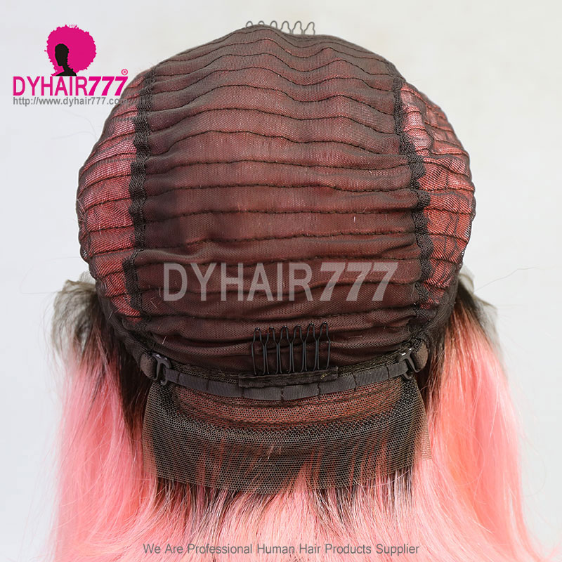 150% Density Bob Lace Front Wig Ombre Color Straight Hair VirginHuman Lace Wig