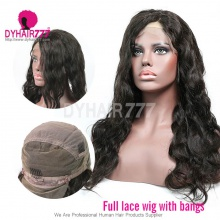 1B# Royal Virgin Human Hair Body Wave Full Lace Wigs With Bangs