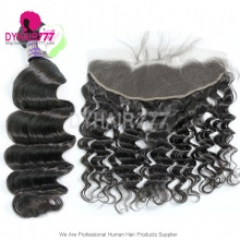 Lace Frontal With 3 Bundle Standard Virgin Cambodian Loose Wave Human Hair Extensions