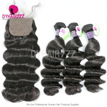 Best Match 4*4 Silk Base Closure With 3or4 Bundles Cambodian Loose Wave Standard Virgin Human Hair Extensions