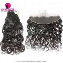 Lace Frontal With 3 Bundles Standard Virgin Peruvian Natural Wave Human Hair Extensions