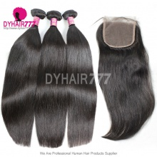Best Match Top Lace Closure With 3 or 4 Bundles Royal Virgin Remy Hair Brazilian Silky Straight Hair Extensions