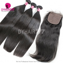 Best Match 4*4 Silk Base Closure With 3 or 4 Bundles Royal Virgin Remy Hair Brazilian Silky Straight Hair Extensions