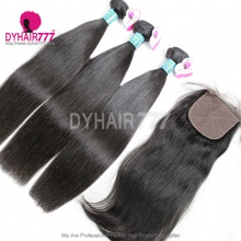 Best Match 4*4 Silk Base Closure With 4 or 3 Bundles Peruvian Silky Straight Hair Royal Virgin Remy Hair Extensions