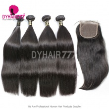 Top Lace Closure With 3 or 4 Bundle European Silky Straight Hair Royal Virgin Remy Hair Extensions