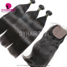 Best Match 4*4 Silk Base Closure With 3 or 4 Bundles Royal Virgin Remy Hair European Silky Straight Hair Extensions