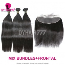 Lace Frontal With 3 Bundles European Silky Straight Hair Royal Virgin Remy Hair Extensions