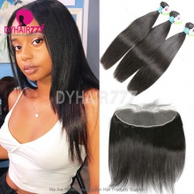 Lace Frontal With 3 Bundles Standard Virgin Remy Hair Peruvian Silky Straight Hair Extensions