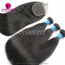 Best Match Top Lace Closure With 4or3 Bundles Peruvian Silky Straight Hair Standard Virgin Remy Hair Extensions