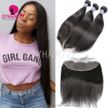 Lace Frontal With 3 Bundle Cambodian Silky Straight Hair Standard Virgin Remy Hair Extensions