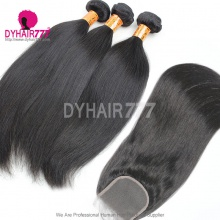 Best Match Top Lace Closure With 3 or 4 Bundles Standard Virgin Remy Hair Indian Silky Straight Hair Extensions