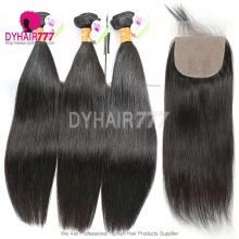 Best Match Silk Base Closure 4*4 With 3 or 4 Bundles Standard Virgin Remy Hair Indian Silky Straight Hair Extensions