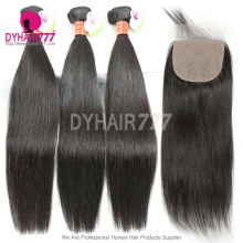 Best Match 4*4 Silk Base Closure With 3 or 4 Bundles Standard Virgin Remy Hair Burmese Silky Straight Hair Extensions