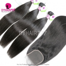 Best Match Top Lace Closure With 3 or 4 Bundles Standard Virgin Remy Hair Mongolian Silky Straight Hair Extensions