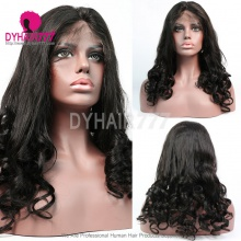 130% Density 1B# Top Quality Virgin Human Hair Straight Loose Wave Lace Frontal Wigs(10piece stock)