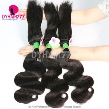 3 or 4 Bundle No Sew No Glue Standard Brazilian Body Wave Braid in Bundles Virgin Hair Extensions More Wavy