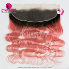 1B/Pink Frontal 13*4 Lace Frontal Closure Body Wave Virgin Human Hair