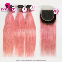 1B/Pink 3 or 4 Bundles With 4x4 Lace Closure Royal Virgin Remy Hair Brazilian Silky Straight Hair Extensions