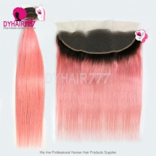 1B/Pink Royal Grade Ombre Hair Extension 13*4 Lace Frontal With 3 Bundles Brazilian Silky Straight Hair Virgin Human Hair