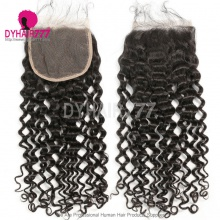 5* 5 Lace Top Closure Italian Curl Natural Color Virgin Human Hair Swiss lace