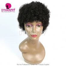 150% Density Short Bob Wig Small Curly Hair 100% Human Hair Lace Wig RF2CS-052