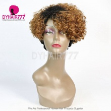 Ombre T1b/30 Density 150% Short Bob Wig Curly Hair 100% Human Hair Lace Wig RF3C-124-T1B-30