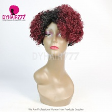 Ombre T1b/530 Density 150% Short Bob Wig Curly Hair 100% Human Hair Lace Wig RF3C-124-T1B-530