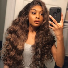 4# Top Quality Virgin Human Hair Body Wave Lace Frontal Wigs