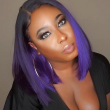 150% Density Bob Lace Front Wig Ombre Color 1B/Purple Straight Virgin Human Lace Wig