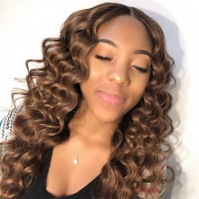 4# Top Quality Virgin Human Hair Loose Wave Lace Frontal Wigs