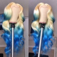 Stylist Wig As Picture 7Days to Ready 100% Virgin Human Hair Body Wave Blonde Ombre Signal Blue