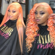 Stylist Wig As Picture 7Days to Ready 100% Virgin Human Hair Wavy Paster Orange
