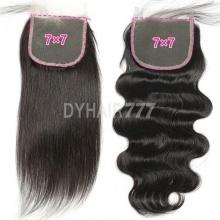 7x7 Lace Top Closure Natural Color Virgin Human Hair Body Wave Straight Hair