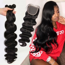 Best Match Top Lace Closure With 3or4 Bundles Standard Virgin Hair Brazilian Body Wave Human Hair Extenions