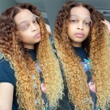 T4/27 Ombre Color 130% Density 1B# Top Quality Virgin Human Hair Deep Curly Lace Frontal Wigs