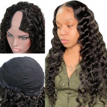 130% Density #1B Virgin Human Hair U Part Wigs Deep Wave Hair Lace Front Wig