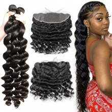 Lace Frontal With 3 Bundles Standard Virgin Brazilian Loose Wave Human Hair Extensions
