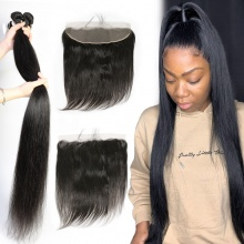 Lace Frontal With 3 Bundles Brazilian Silky Straight Hair Royal Virgin Remy Hair Extensions