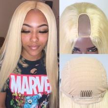 613# U Part Wigs 300% Density Blonde Straight Virgin Human Hair Wigs