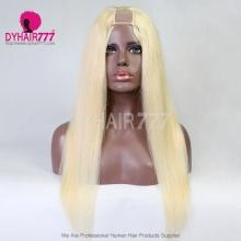 Blonde Color 613 U Part Wigs 130% Density Straight Virgin Human Hair