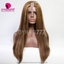 U Part Wigs P4/27 Highlight Straight Hair 130% Density 100% Unprocessed Virgin Human Hair