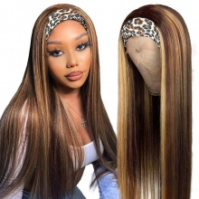 130% Density Color P4/27 Headband Scarf Wigs Human Hair Wigs 100% Human Hair (Not Have Lace)