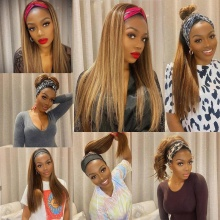 180% Density Color P4/27 Headband Scarf Wigs Human Hair Wigs 100% Human Hair (Not Have Lace)
