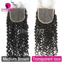 Lace Top Closure (4*4) Deep Curly Human Virgin Hair Freestyle Free Part Middle Part Two Part Three Part